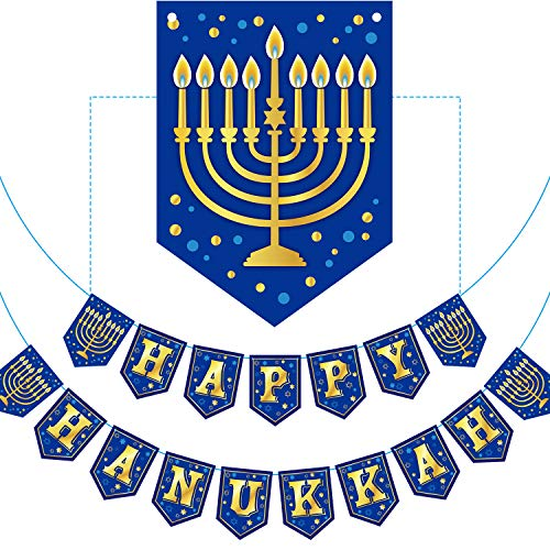 Happy Hanukkah Banner Chanukah Letter Banner Decoration Hanukkah Party Decoration Paper Letter for Hanukkah Party Decoration Supply