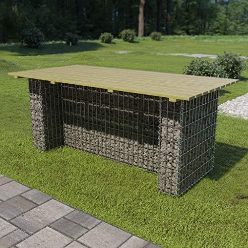 Festnight- Gabionentisch 180 x 90 x 74 cm | Gartentisch Tisch für Garten Terrasse | Verzinkter Stahl und Kiefernholz | Silber