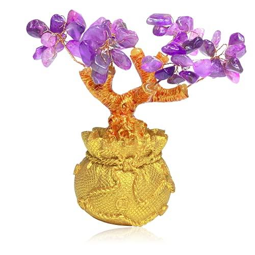 Árbol Cristal, Árbol de Dinero, Lucky Tree, Healing Crystal Money Trees, Hecho con Amatista Natural, Puede Traer Riqueza y Buena Suerte, Decoración Oficina en Casa