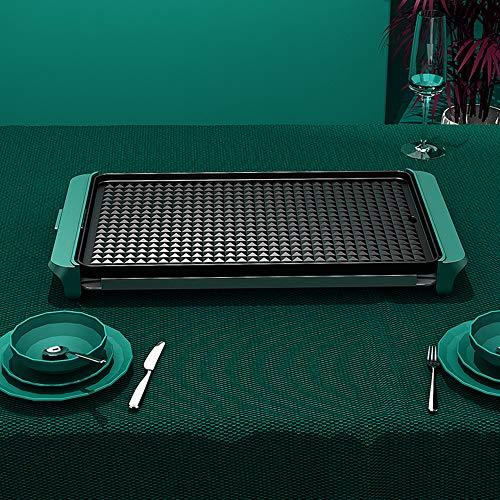 Eléctrica de sobremesa Barbacoa sin Humo Gril, Antiadherente, con 5 Niveles de Ajuste de Temperatura, Easy Clean, Encaja Inicio Cena (1400w),Verde