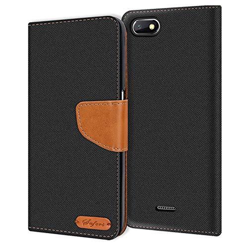 Verco kompatibel mit Xiaomi Redmi 6a Hülle, Schutzhülle für Redmi 6a Tasche Denim Textil Book Hülle Flip Hülle - Klapphülle Schwarz