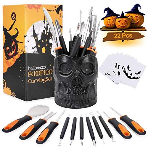 Hotelvs Halloween Zucca Intaglio Kit, 22 Pezzi Intaglio di Zucca Professionale Acciaio Inossidabile Resistente Fai-da-Te Kit di Intaglio