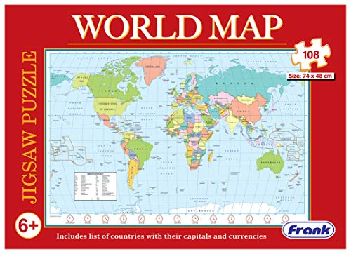 Frank World Map Puzzle – 48 x 74 cm, 108 Pieces - Early Learner Giant Educational Jigsaw Puzzle Set with List of Countries, Capitals & Currencies | Ages 6 & Above | Educational Toys and Games