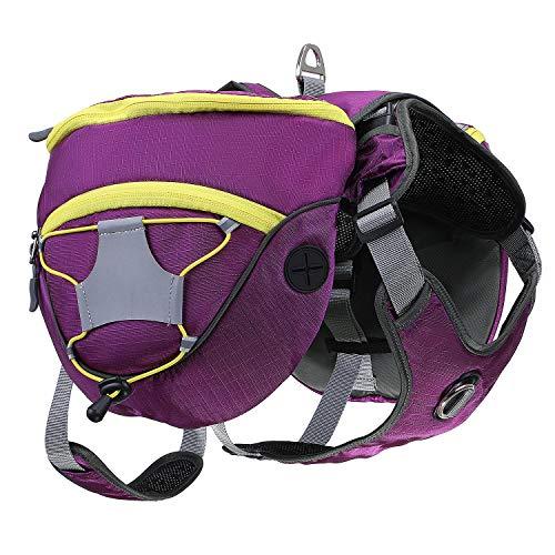 PETTOM Satteltasche Hund Hunderucksack Reflektierende für Wandern Reisen Camping Hundebackpack für Mittelgroße Große Hunde (Orange/Lila)