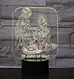 QiXian Nachtlicht Wandleuchte Led Lampe San Juan de Dios 3D Acryl Led Nachtlichter Illusion Decoración para el Hogar Optische Lampen Beleuchtung Für Küche Schlafzimmer Wohnzimmer