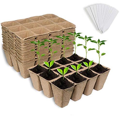 Seed Starter Peat Pots, 12 PCS (144 Cells) Premium Biodegradable and Organic Germination Seedling Trays Kit for Indoor Outdoor Plants, with 20 Plastic Plant Labels