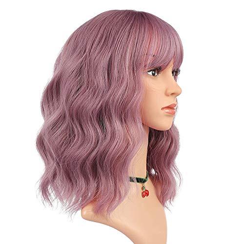 eNilecor Purple Wig Short Colorful Wavy Bob Wigs with Air Bangs 14' Natural Wigs for Women (Taro Purple)