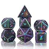 Juego de Dados de rol, Poliédricos Dice de Metal Set de Dados D&D de Juego de rol DND para RPG Dungeons and Dragons Juegos de Mesa Enseñanza de Matemáticas (Colorful - Black)