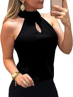 Remikstyt Womens Tank Tops Halter Sexy Summer Sleeveless Chiffon Plain Cami Tees Shirts
