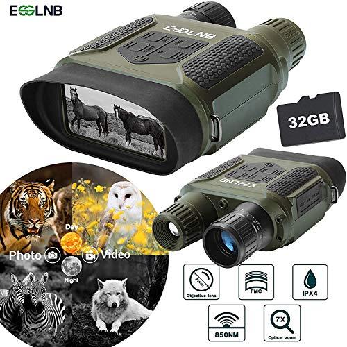 ESSLNB Nachtsichtgerät Jagd Militär Infrarot Digital Fernglas mit Nachtsicht mit 32GB Karte und 8 AA Batterien 7X Vergrößerung 4