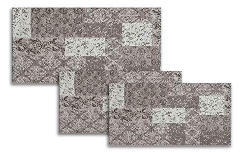 Confezioni.Giuliana Tris Camera da Letto scendiletto 3 tappeti ciniglia Classico arazzo Grigio Fango