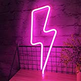 TURNMEON Neon Lights Signs for Wall Decor Lighting Bolt Light Living Room Decoration, USB or Battery Powerd LED Light up Signs Wedding Gifts for Bedroom Birthday Party Indoor Decoration(Pink)