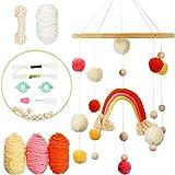 Kit Móvil DIY para Cuna de Bebé Juguete Colgante de Arcoíris Móvil Incluye Campana de Cama de Madera Hecha a Mano Fabricante de Pompón Set de Juguete de Carillón de Viento Campana para Cuna