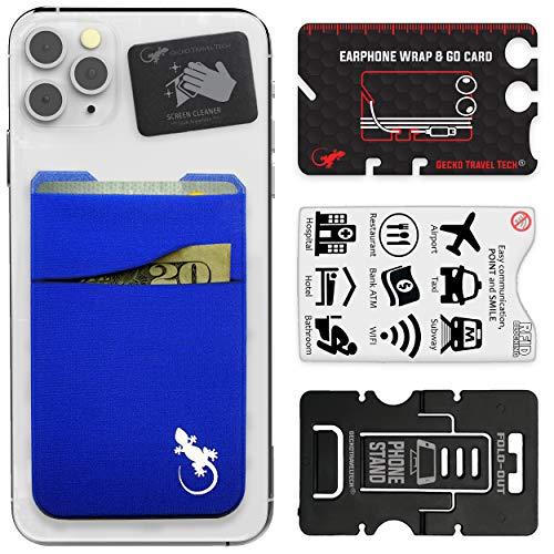 Cartera de teléfono Gecko – Soporte para teléfono – Tarjetero Adhesivo para móvil – Dos Bolsillos – Bolsillo para teléfono de Lycra – Portador de Tarjetas de crédito y Efectivo – (Azul)