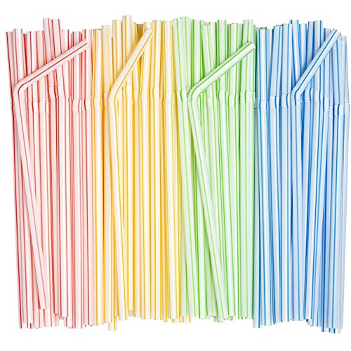 """[200 Pack] Flexible Disposable Plastic Drinking Straws - 7.75"""" High - Assorted Colors Striped"""