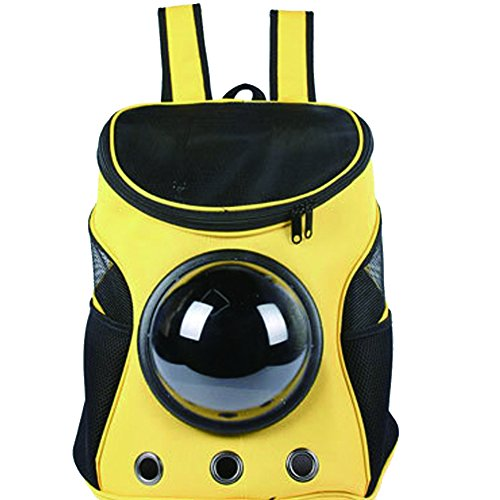 YAOBAO Animal Portable Carrier Espace Capsule Sac À Dos PU En Cuir Chien Chat Petites Animaux Voyage Sac,Yellow