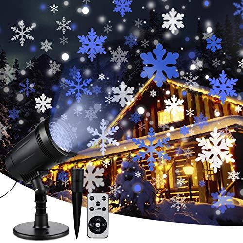 Luci del proiettore di fiocchi di neve di Natale Luci decorative impermeabili per esterni e interni con telecomando, illuminazione per nevicate per Natale, vacanze, feste, matrimoni, giardino, patio