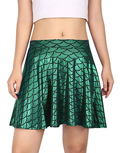 HDE Womens Shiny Mermaid Fish Scale Mini Flared Pleated Skater Skirt (Green, Medium)