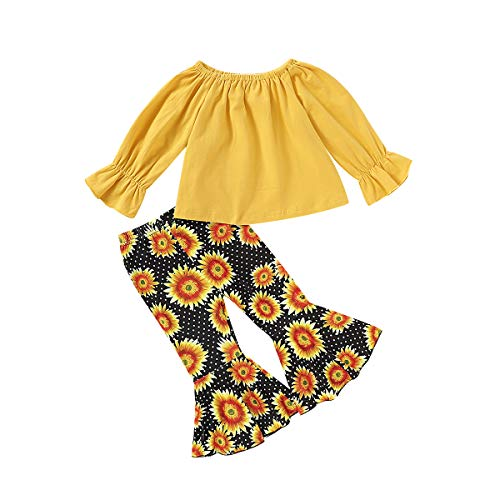 Toddler Baby Girl Ruffle Long Sleeve T-Shirt Tops + Sunflower Flare Pants Outfit (Yellow, 2-3 T)