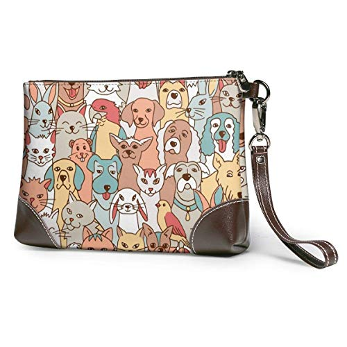 GLGFashion Carteras de cuero para mujer Cute Pets Dogs, Cats, Birds, Bunnies, Hamster Women's Travel Leather Wristlet Clutch Purses Makeup...