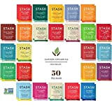 Stash Herbal and Decaf Tea Bags Sampler Set - 50 Count, 25 Flavors - Caffeine Free - Variety Pack Gift - /w Cotton Bag