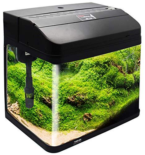 BPS Kit de Acuario con Iluminación Bomba Filtro y Accesorios para Pecera Peces (L: 38x26x47 cm, Negro) BPS-6005NE