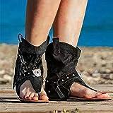 DQYFZQ Zapatos de Mujer Vintage con Flecos Sandalias de Gamuza de Gamuza Zapatos de Mujer Retro de Fondo Plano en Espiga Zapatos de Playa cómodos,a,43
