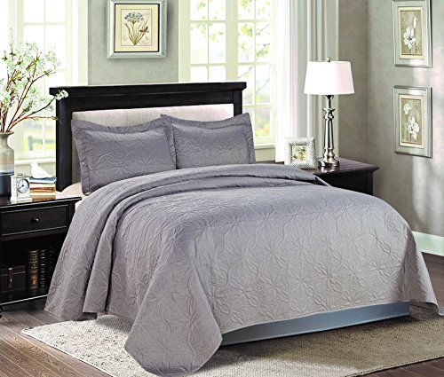 bednlinens&things 3 pc Reversible Quilted Light Weight Bedspread Coverlet Set Over Sized Comforter Bedding Decorative Cover Queen King (Grey, Queen)