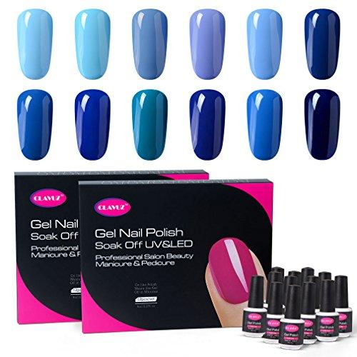 CLAVUZ Gel Polish Kit 12pcs Soak Off Blue Nail Polish Salon Beauty Nail Art Manicure New Starter Set