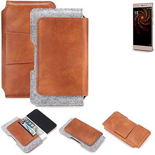 K-S-Trade® Schutz Hülle Für Allview X3 Soul Style Gürteltasche Gürtel Tasche Schutzhülle Handy Smartphone Tasche Handyhülle PU + Filz, Braun (1x)