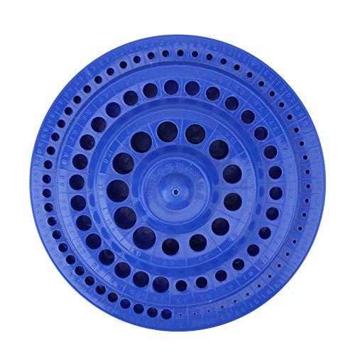 Hard Plastic 100 Holes Blue 1-13mm Nails Drill Bits Holder Drill Bit Storage Case Round Shape for Drill Bits Nails