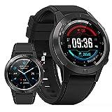 BNMY Reloj Inteligente con GPS Y Bluetooth para Hombres Y Mujeres, Reloj Inteligente con Pantalla Táctil Completa De 1.3', Reloj Inteligente con Seguimiento De Actividad Física IP67,Negro