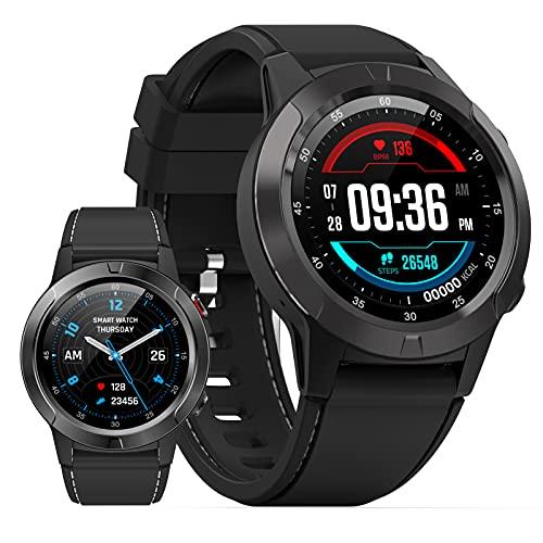HQPCAHL Reloj Inteligente con GPS Y Bluetooth para Hombres Y Mujeres, Reloj Inteligente con Pantalla Táctil Completa De 1.3', Reloj Inteligente con Seguimiento De Actividad Física IP67,Negro
