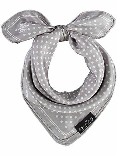 FRAAS Halstuch Damen gepunktet - 53 x 53 cm Größe - Nickituch Seide - Seidentuch für Damen mit Polka Dots Muster - Bandana Tuch perfekt für den Sommer Hellgrau