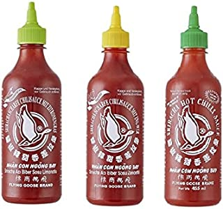 3er Set Sriracha Hot Chili Sauce versch. Sorten 3 x 455ml Chilli Soße 2 Pamai Pai