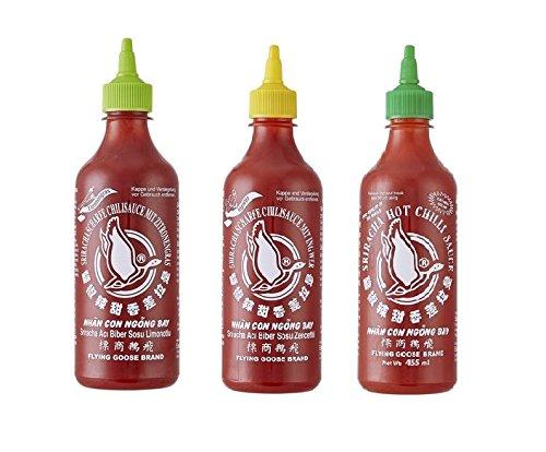 3er Set Sriracha Hot Chili Sauce versch. Sorten 3 x 455ml Chilli Soße 2 Pamai Pai®