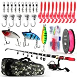 Telescopic Fishing Rod Reel Combos Full Kit, 1.9M/2.3M Collapsible Fishing Pole with Spinning Reel Braid Fishing Line Fishing Lures Hooks Fishing Carrier Bag for Travel Freshwater (1.9M/6.2FT)