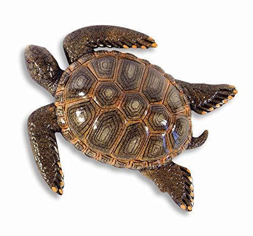 LX Handpainted Brown Tropical Sea Turtle Beach Tiki Bar Wall Mount Decor Plaque Kid Decor 8'