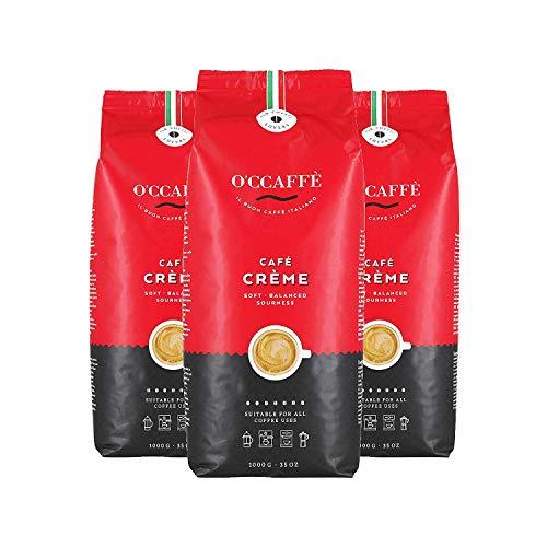 O'CCAFFÈ – Café Crème | 3 x 1kg ganze Bohnen | säurearmer, aromatischer Kaffee Crema | extra langsame Trommelröstung aus italienischem Familienbetrieb