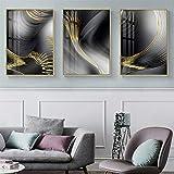 Carteles Cuadros de arte de pared Nórdico Abstracto Línea amarilla Lienzo Pintura Fondo gris negro Sala de estar Decoración de oficina 23.6 'x31.5' (60x80cm) 3pcs Sin marco