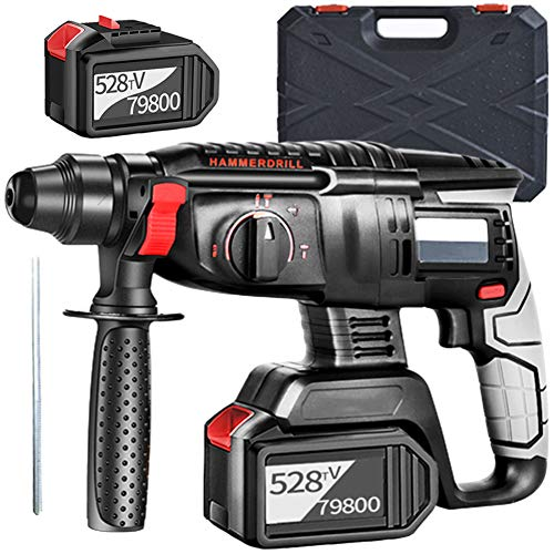 EastMetal Rotary Hammer Drill, 3 in 1 Cordless Demolition Hammer with 360° Auxiliary Handle 2 Li-Ion Battery SDS Quick Chuck Toolbox Multifunction Charging Electric Pick, for Concrete and Stone
