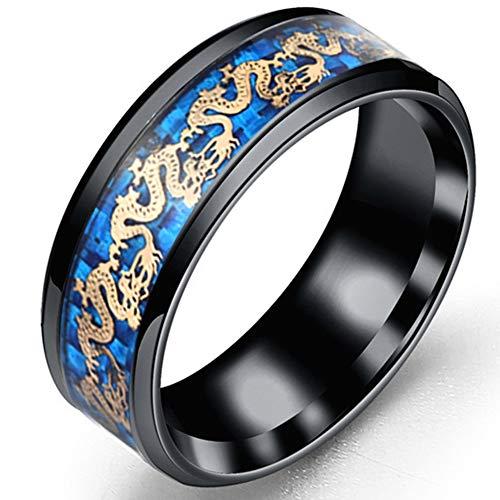 Anillo Compromiso Banda Boda Negro Azul 8 Mm, Anillo Tungsteno Celta, Joyería Lujo Vikinga de Moda, Anillos Serpiente Fiesta del Orgullo para Hombres y Mujeres Regalos,Negro,9