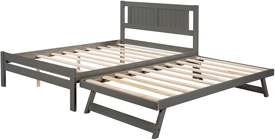 Twin Daybed and Trundle Max 45% OFF Frame with Bed Headbo Popular popular Set