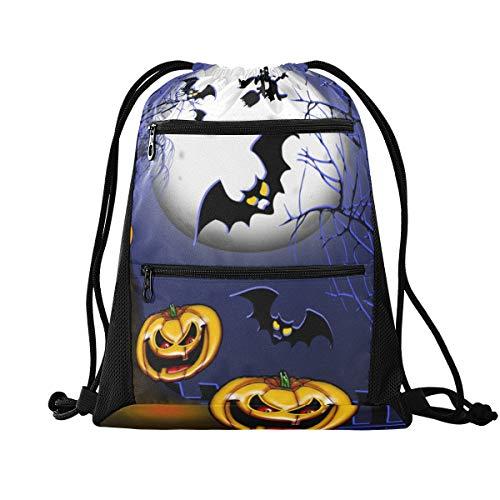 Halloween-Rucksack mit Kordelzug, Sport-Rucksack – Halloween-Jack-Laterne, Hexe, Turnbeutel, Sport-Rucksack für Reisen, Musik, Festiva