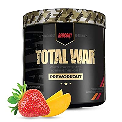 Redcon1 Total War - Pre Workout, 30 Servings, Boost Energy, Increase Endurance and Focus, Beta-Alanine, 350mg Caffeine, Citrulline Malate, Nitric Oxide Booster - Keto Friendly (Strawberry Mango)