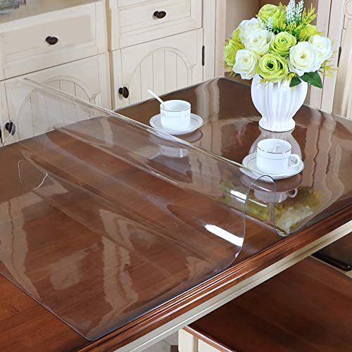 Yanman Clear PVC Tablecloth Oilcloth Waterproof Fabric Table Protector 2mm Thick Table/Desk Table Pads Non-slip Table Covers