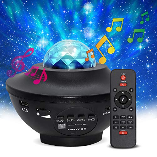 Ocean Galaxy Light Projector with Bluetooth Speaker - Kids LED Galaxy Room Light Has Laser Stars, 10 Color Settings & Sleep Timer- Dimmable Nebula Star Projector for Bedroom