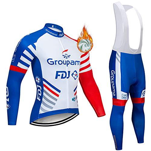 Completo Abbigliamento Ciclismo da Uomo, Invernale Tuta Maglia Ciclismo Maniche Lunga + Pantaloni Lunghi da Bicicletta con Gel Pad 5D