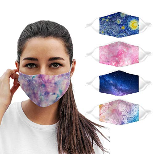 Knacky Reusable Face Mask with Adjustable Ear Loops M Shaped Cotton Galaxy Pattern Washable Face Cover 5 Piece Set Painting Art Face Protector Cloth Mouth Mask for Girls Women Mother Gift