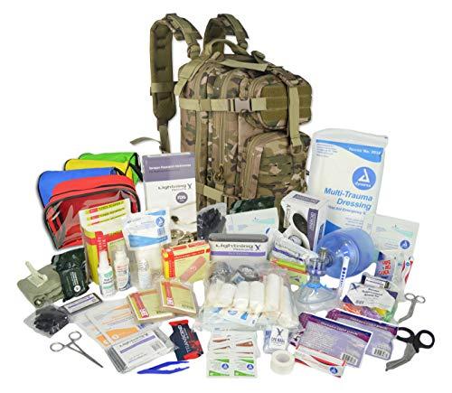 Lightning X Stocked EMS/EMT Trauma & Bleeding First Aid Responder Medical Backpack + Kit + Pouches - Multicam